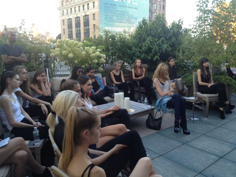 Models listening at IMG model prep 2012